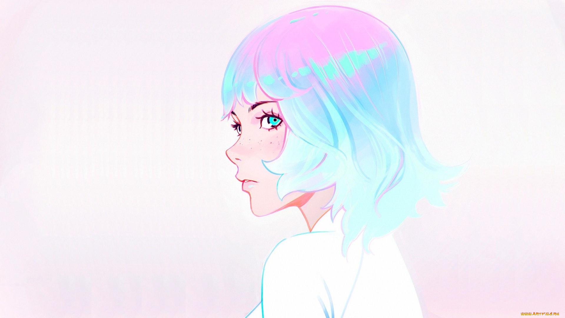 аниме, unknown,  другое , челка, веснушки, голубые, волосы, стрижка, портрет, девушки, профиль, илья, кувшинов